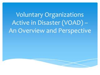 Voluntary Organizations Active in Disaster (VOAD) – An Overview and Perspective