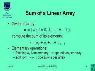 Sum of a Linear Array