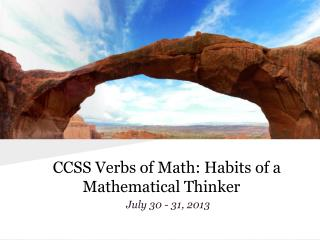 CCSS Verbs of Math: Habits of a Mathematical Thinker