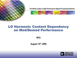 LO Harmonic Content Dependency on Mod/Demod Performance