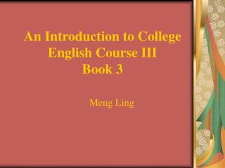 An Introduction to College English Course III Book 3