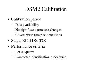 DSM2 Calibration
