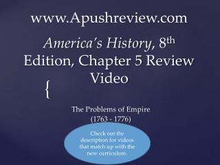 America's History , 8 th  Edition, Chapter 5 Review Video