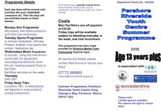 Pershore Riverside Youth Centre Summer Programme