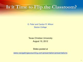 Is it Time to Flip the Classroom?