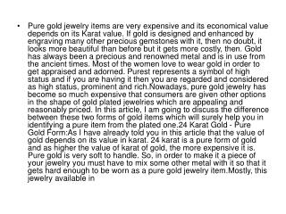 Pure gold jewelry items