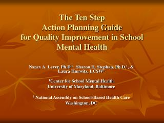 The Ten Step  Action Planning Guide  for Quality Improvement in School Mental Health