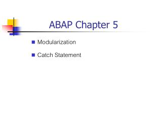 ABAP Chapter 5