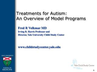 Treatments for Autism: An Overview of Model Programs