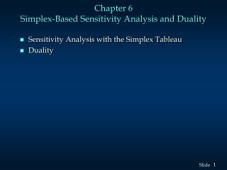 Chapter 6  Simplex-Based Sensitivity Analysis and Duality