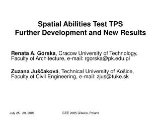 Spatial Abilities Test TPS Further Development and New Results