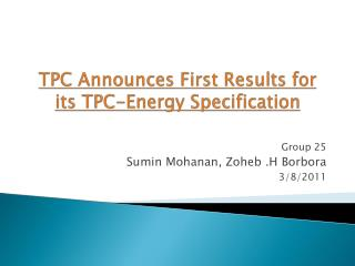 TPC Announces First Results for its TPC-Energy Specification