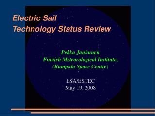 Electric Sail Technology Status Review