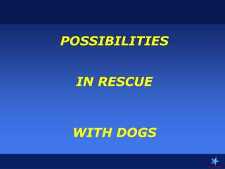 POSSIBILITIES IN RESCUE  WITH DOGS