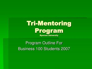 Tri-Mentoring  Program Ryerson University
