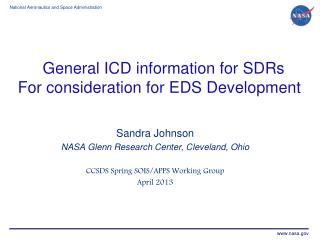 General ICD information for  SDRs For consideration for EDS Development