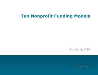 Ten Nonprofit Funding Models