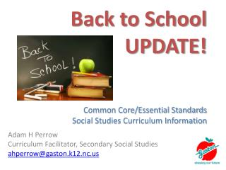 Back to School UPDATE! Common Core/Essential Standards Social Studies Curriculum Information