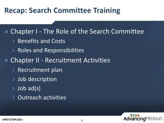 Recap: Search Committee Training