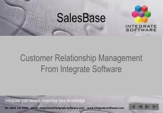 SalesBase Customer Relationship Management From Integrate Software