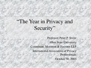 """The Year in Privacy and Security"""