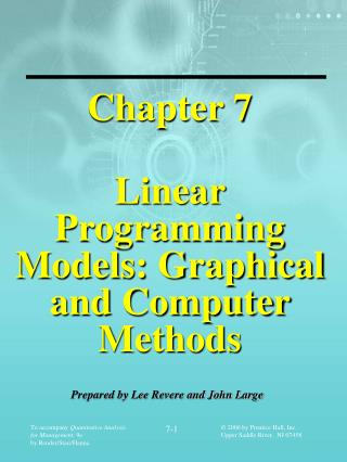 Chapter 7 Linear Programming Models: Graphical and Computer Methods