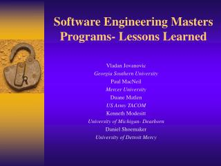Software Engineering Masters Programs- Lessons Learned