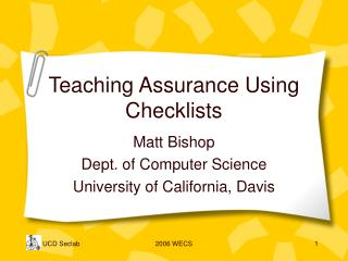 Teaching Assurance Using Checklists