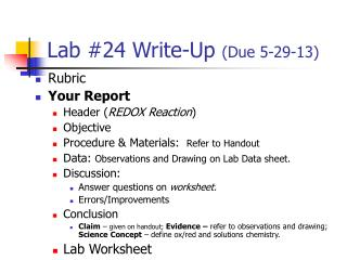 Lab #24 Write-Up  (Due 5-29-13)