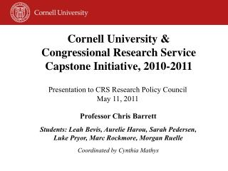 Presentation to CRS Research Policy Council May 11, 2011