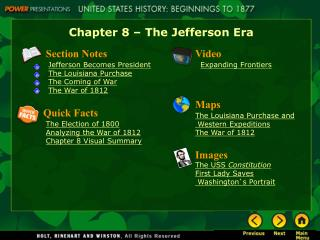 Chapter 8 – The Jefferson Era