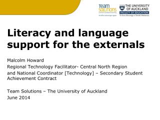 Literacy and language support for the externals Malcolm  Howard