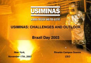 USIMINAS: CHALLENGES AND OUTLOOK Brazil Day 2003