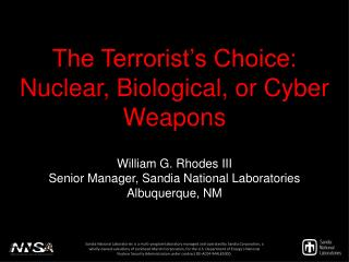 The Terrorist's Choice: Nuclear, Biological, or Cyber Weapons