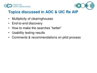 Topics discussed in ADC & UIC Re AIP