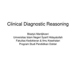 Clinical Diagnostic Reasoning