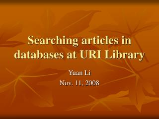 Searching articles in databases at URI Library