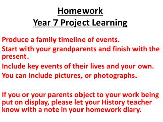 Homework Year 7 Project Learning