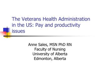 The Veterans Health Administration in the US: Pay and productivity issues