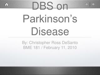 DBS on Parkinson's Disease