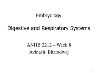 Embryology Digestive and Respiratory Systems