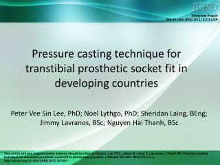 Pressure casting technique for transtibial prosthetic socket fit in developing countries