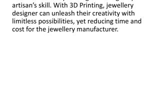 3D Printers for Jewellery Industry