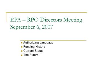 EPA – RPO Directors Meeting September 6, 2007