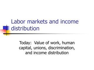 Labor markets and income distribution