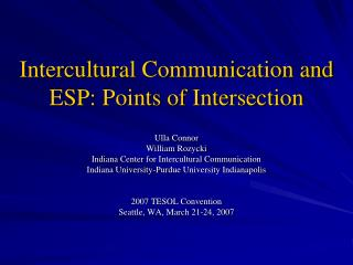 Intercultural Communication and ESP: Points of Intersection