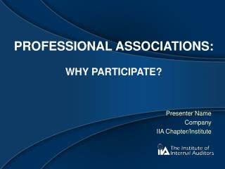 Professional Associations:  Why Participate?