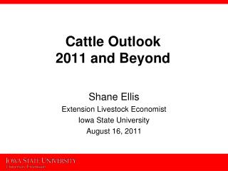Cattle Outlook  2011 and Beyond