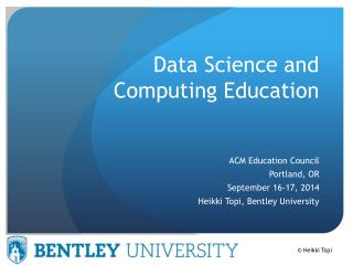Data Science and Computing Education