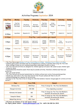 Activities  Programs  September  2014